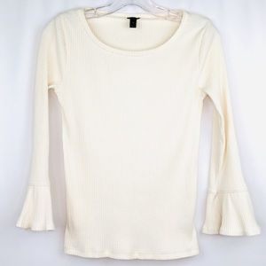 J. Crew Ribbed Bell Sleeved Top